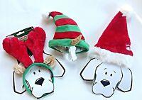 Christmas Holiday Dog Hats - Reindeer Antlers, Santa Hat Or Elf Ears