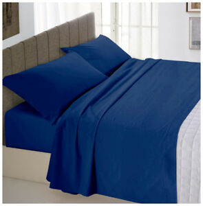 Completo-letto-matrimoniale-2-piazze-blu-cotone-set-lenzuola-sopra-sotto-federe