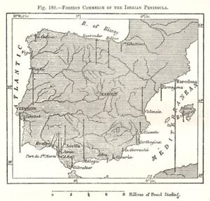 Details about Foreign Commerce of the Iberian Peninsula. Spain Portugal.  Sketch map 1885