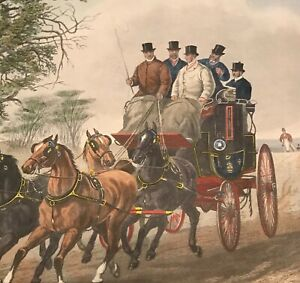 Antique Four In Hand Print Hand Colored Henry Alken Stagecoach Ebay
