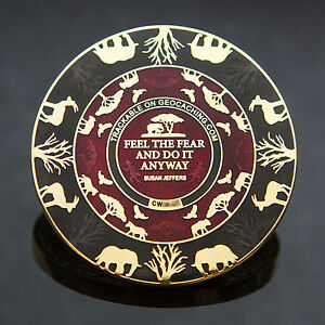 2T-Gold-Red-Black-Courageous-Lion-Geocoin-Geocaching-50-MADE