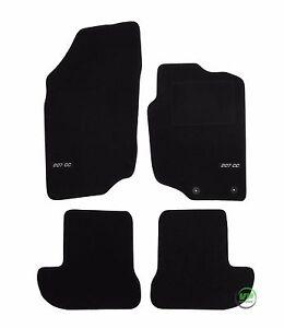 LOGO Fully Tailored black floor car mats fits PEUGEOT 207 CC 2007 ...