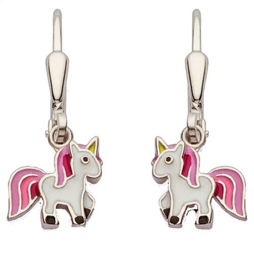 Silber 925 Ohrpendel Mädchen Einhorn rosa pink Kinder Ohrhänger Ohrringe farbig