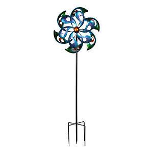 Image Is Loading Large Kenetic Metal Garden Spinner Windmill Rainbow Flower
