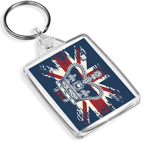 British Crown Keyring IP02 Union Jack Flag Royal Queen King UK Gift #14860