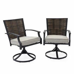 Admirable Set Of 2 Swivel Dining Chairs Outdoor Patio Deck Seat Creativecarmelina Interior Chair Design Creativecarmelinacom