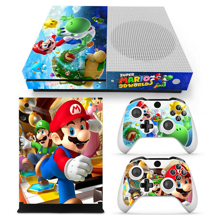 Super Mario Decal Skin Sticker for Xbox One S Console &Controllers Cover Set