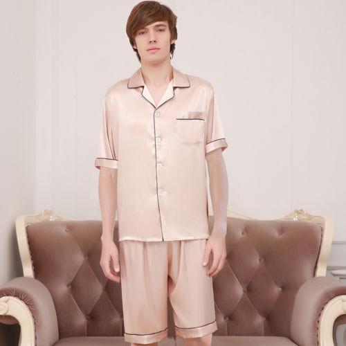 Women Men Silk Satin Homewear Pajamas Pyjama Summer Sleepwear Nightwear Suit