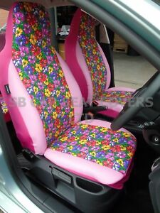 i - SEMI FIT A PEUGEOT 107 CAR, SEAT COVERS, PRIMROSE COVERS/PINK ...