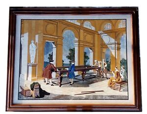 An Imperial Pietra Dura Plaque Of The Billiard Players rare painting in stone
