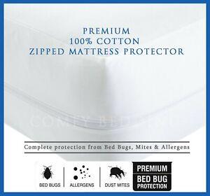 100-Coton-Anti-Bed-Bug-zippees-complet-Matelas-Protecteur-total-enceinte-de-la-couverture