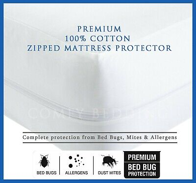 100/% Cotton Blend Zipped Mattress Protector Anti Allergy Bugs Mites Treated