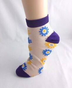 5349ca3e5 Image is loading Ladies-Sheer-Ankle-Socks-Purple-Flowers-White-Blue-