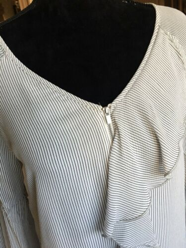 Ladies Mint Layered Ruffle 12 Size Front Velvet Striped Blouse Gorgeous 55UOwHxqr