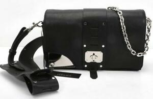 a593b7c329 Image is loading VERSACE-Stardust-Shoulder-Bag-Black-Leather-Silver-Chain-