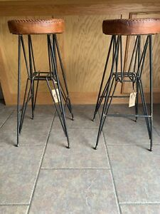 Super Details About The Rockefeller Handmade Tall Leather Bar Stool Set From The Barrel Shack Gamerscity Chair Design For Home Gamerscityorg