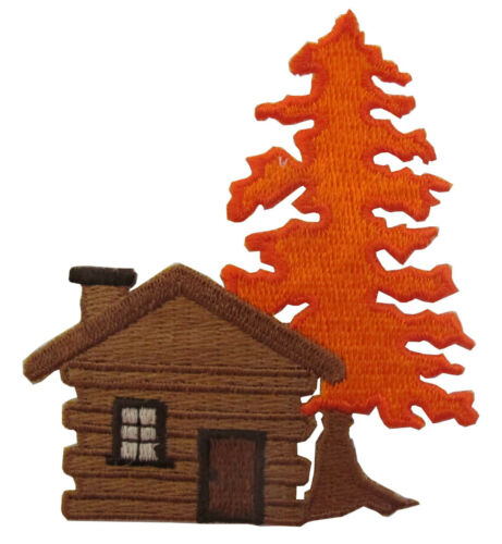 """#4286 3/""""x3-1//4/"""" Cabin,Log house w//Maple Tree Embroidery Iron On Applique Patch"""