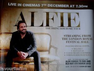 Details About Cinema Poster Alfie The Bring Him Home Tour 2012 Quad Alfie Boe Festival Hall