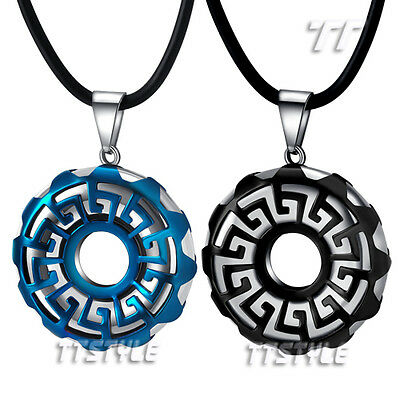 TTstyle Stainless steel Round Greek Key Pendant Free Chain Choose Colour