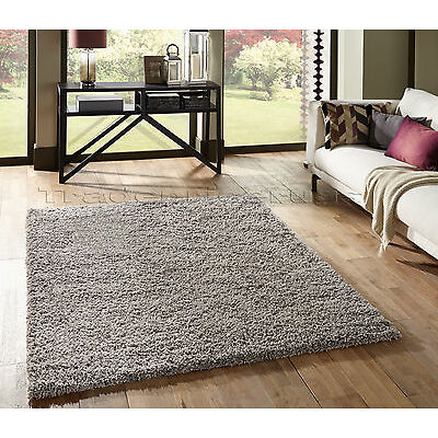 Small - Extra Large Thick Shaggy Shag Pile Silver Grey Rug. Overstock Clearance