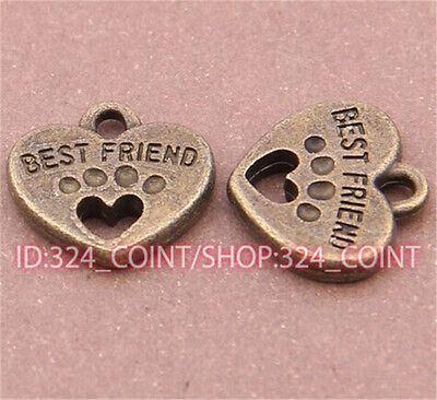 P504 10pcs Antique Bronze heart Pendant Bead Charms Accessories wholesale