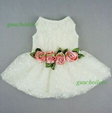 "Fitwarm 16""Chest Pink Rose Dog Wedding Dress M Pet Clothes Lace Bridal Apparel"