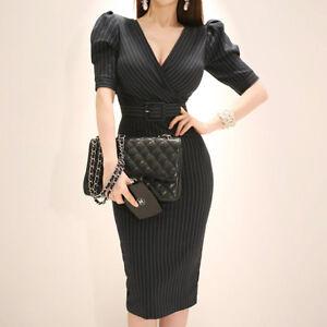 purchase cheap b4d63 f2f45 Dettagli su Elegante vestito abito corto tubino nero gessato lungo slim  morbido 4378