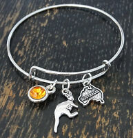 Personalized Australia Bangle Bracelet - Choose A Birthstone