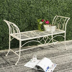 Image Is Loading Outdoor Wrought Iron Metal Rustic Garden Bench Patio
