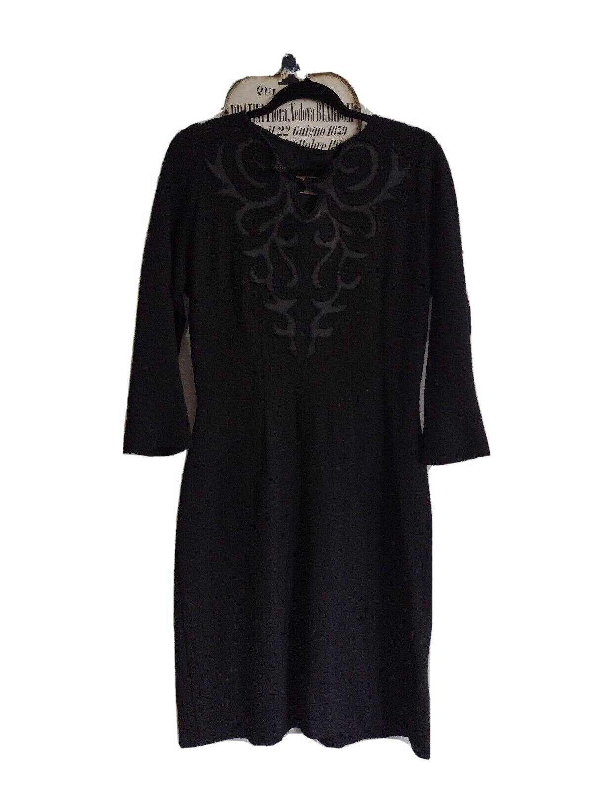 1940s Black Knit Dress With Satin Detail In Volup… - image 1