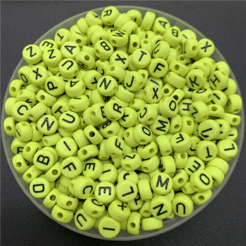 100pcs 7mm Acrylic Spaced Beads Mix Letter Beads For Jewelry Making