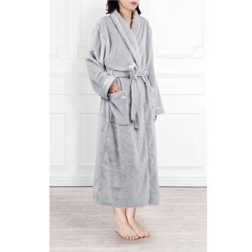 Womens Fleece Robe with Satin Trim Plush Warm Long Spa Night Bathrobe Sleepwear