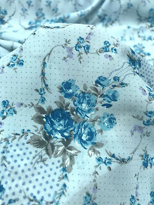 """Floral Polka Dot Turquoise Blue Faux Silk Satin Fabric 60""""W Dress Scarf Lining"""