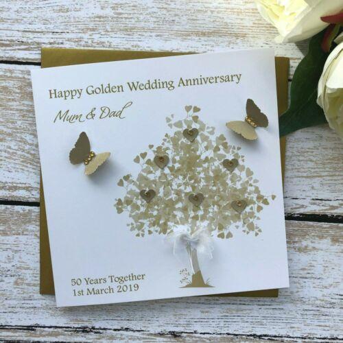 Handmade Personalised 50th Golden Wedding Anniversary Card Mum Dad Nan Grandad