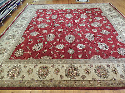 Dazzling Large Oriental Peshawar Square Area Rug/Carpet 12x12 Red Beige