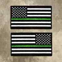 Black & White Thin Green Line Us Flag Patch, Border Patrol, Game Wardens