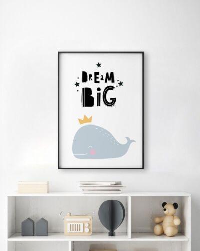 SCANDI Dream Big Whale Blue Crown Unisexe Nursery Kids salle de jeux Wall Art Print