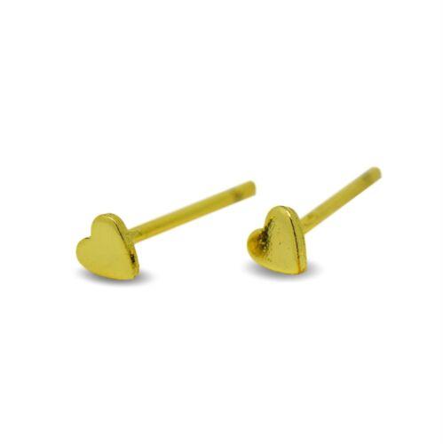 9ct Oro Lleno Corazón Aretes pequeños 3mm para Mujer o Niñas 9K GF