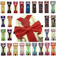 New Suspender + Bow Tie Matching Colors Sets for Boys Girls Kids Child Toddler