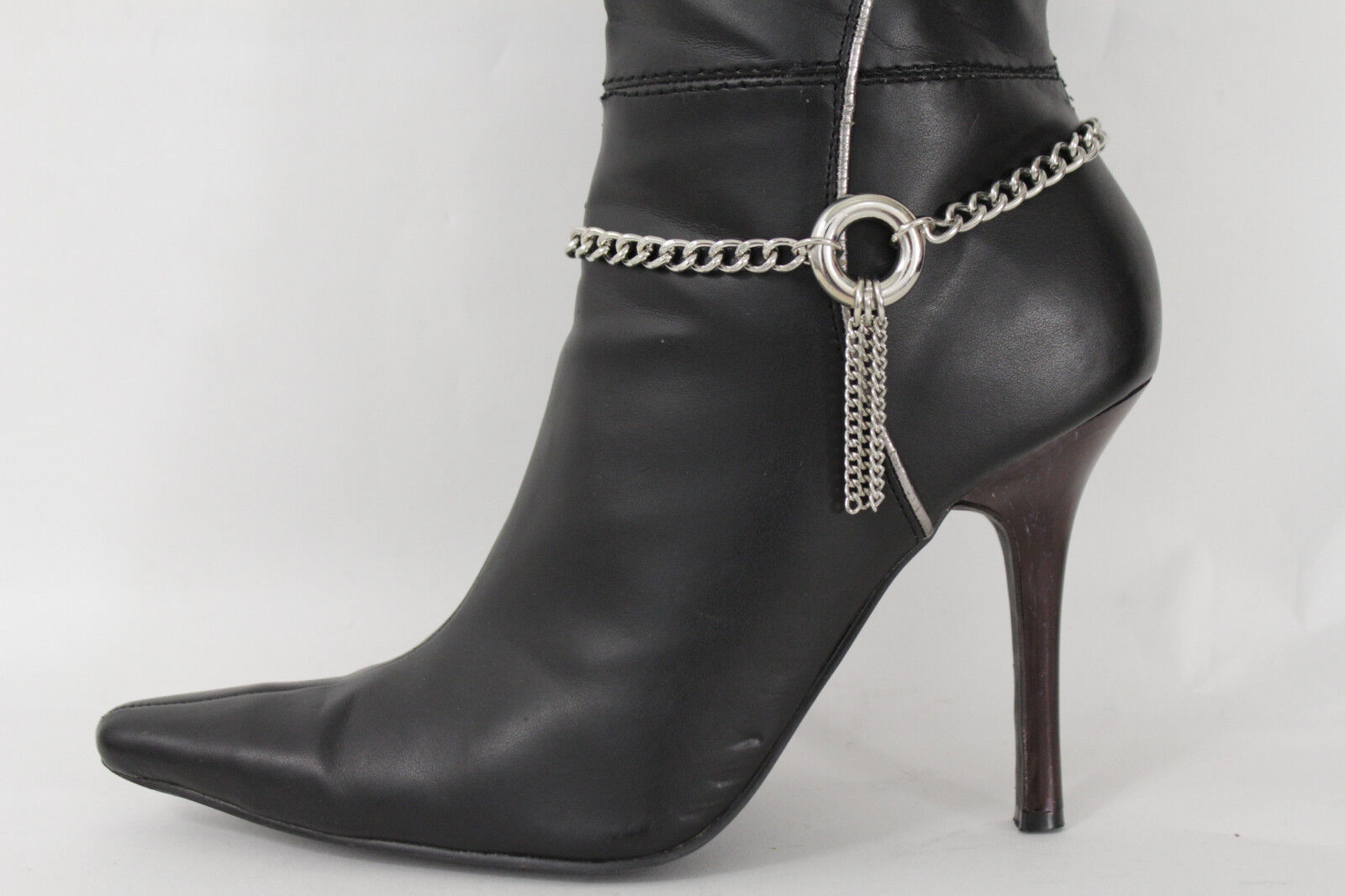 Women Fashion Boot Bracelet Metal Chains Silver Fringes RIng Anklet Shoe Charm