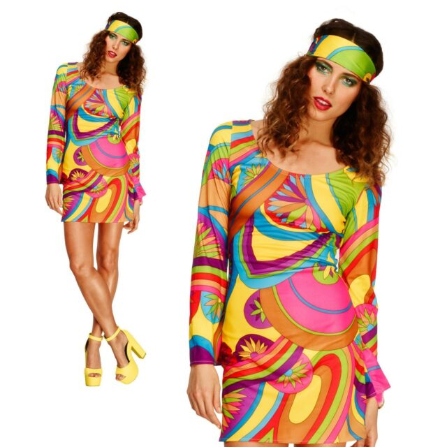 Ladies Fever Hippy Costume 60s 70s Beauty Hippie Fancy Dress Flower Outfit