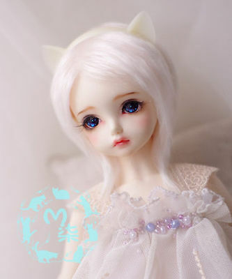"3-4/"" 9-10cm BJD fabric fur wig Smoke Pink for AE PukiFee lati 1//12 Doll"