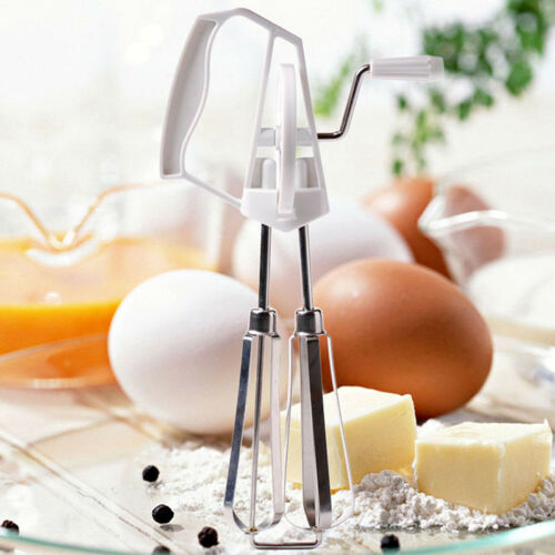 Manual Rotary Egg Beater Stainless Steel Blades Hand Crank Blender Mixer New