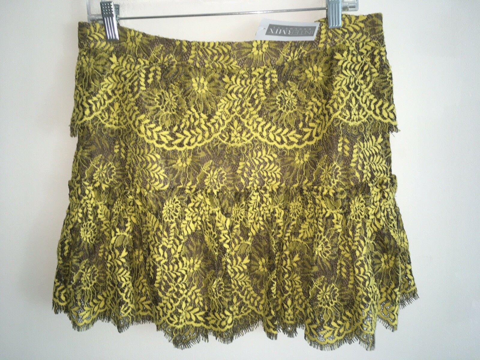 NEW WITH TAGS Intermix Yellow & Brown Lace Tiered Short Skirt L  345