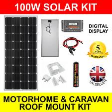 100W 12V Mono-Crystalline Solar Panel Charging Kit Motorhome Caravan Roof Mount