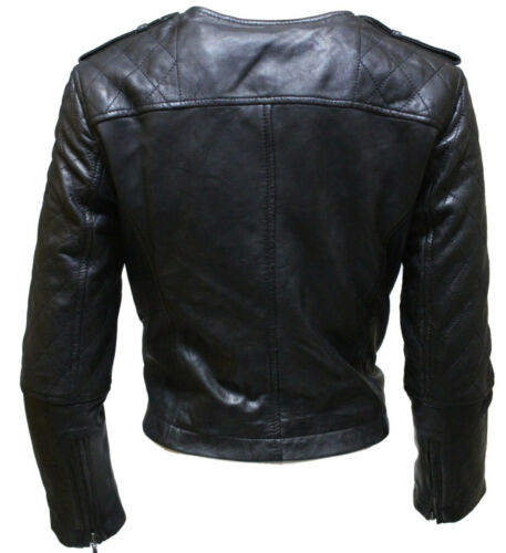 Women/'s Retro Black Cropped Sleeve Quilted Brando Style Leather Biker Jacket
