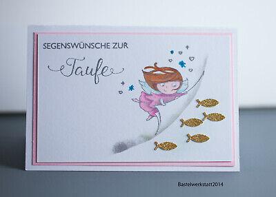Glückwunschkarte zur Taufe für Mädchen Taufkarten Handarbeit Grußkarte Karte 3d