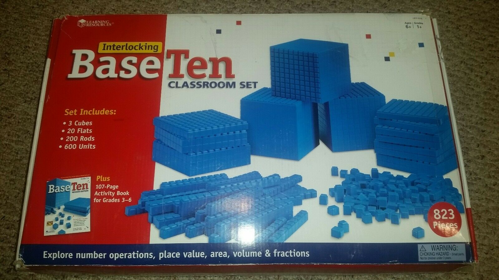 Learning resources Base 10 classroom set +book  97% complete, math, home school