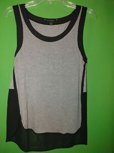 3018) BANANA REPUBLIC small S gray black pullover jersey knit tank top S