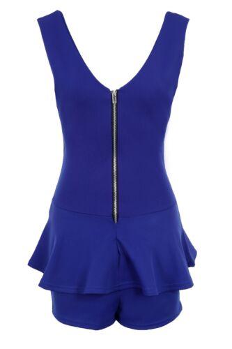 Ladies Sleeveless Zip V Front Back Peplum Short Women/'s Smart Playsuit